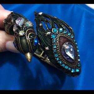 Betsey Johnson hinged peacock bracelet